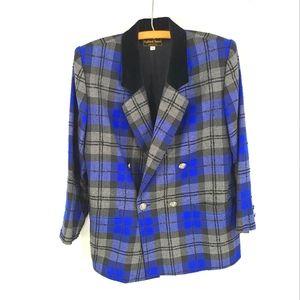 Vintage Highland Queen Pure Virgin Wool Plaid in Blue & Grey Blazer